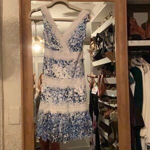 Tahari  blue and white dress